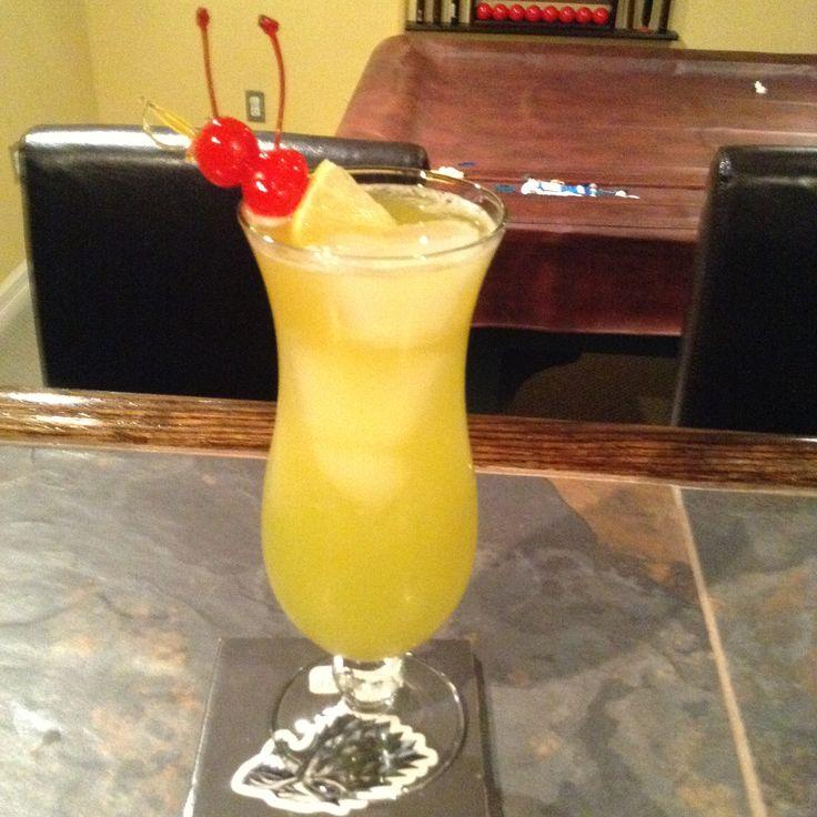 Sunspear: 1 oz watermelon vodka, 1 oz cherry vodka, 1 oz melon liqueur, 2 oz pineapple juice, citrus soda. Fill high ball glass with ice pour everything in glass finish filling glass with citrus soda.