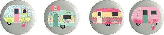 Set of 4 Ceramic Camper Ceramic Knobs for Cabinet or Drawers