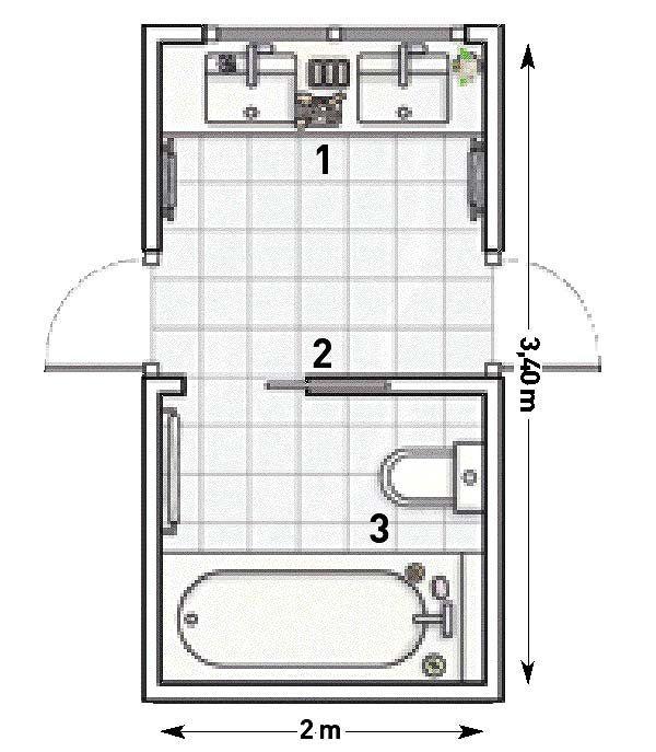 Un cuarto de baño compartido para dos habitaciones