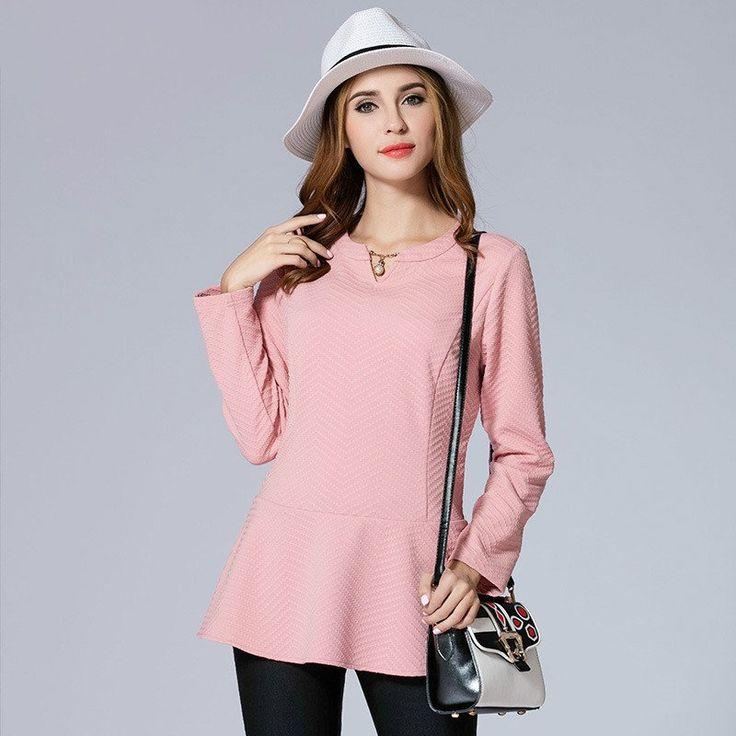 OCHANAL Lady Pink Long Sleeve Peplum Tops Plus Size Women Clothing xl-5xl