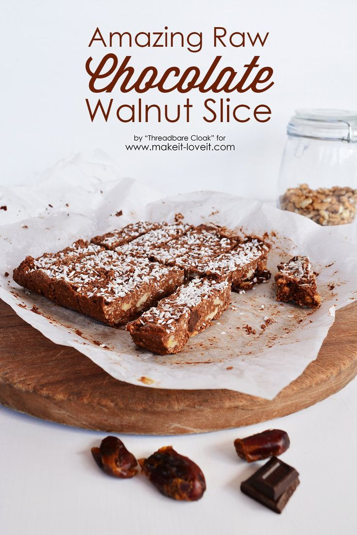 Make this Raw Choc Walnut Slice that's not only delicious but is actually good for you. It's raw, refined sugar and dairy free, but not yum free!