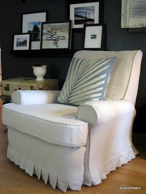 Best recliner redo tutorial! I would just make a very simple skirt to keep it masculine enough for my hubby to still feel like it is his. I just used these linen looking drop clothes from Home Depot for my kitchen built-in bench..