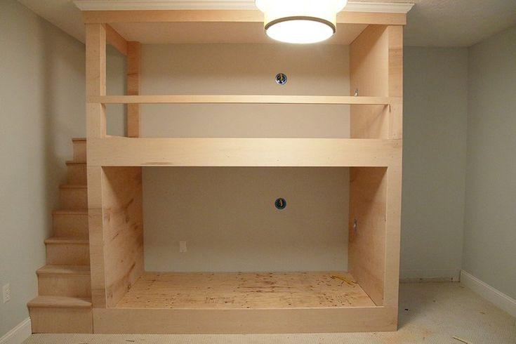 plan lit superposé original design en bois idée ameublement chambre enfant #original #bunk #bed