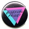 the 'classic' Bisexual Pride button (circa 1980) with the double overlapping triangles (blue over pink to make purple - symbolizing different gender attraction, same gender attraction merging to create attraction anywhere along the entire gender spectrum)