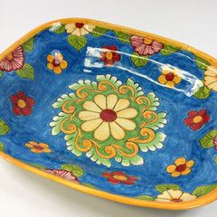 One of a Kind Turquoise & Yellow Platter-Bowl