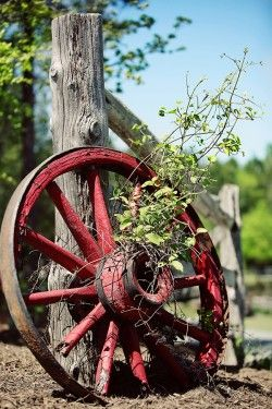 old wagon wheel: Country Accent, Wagon Wheels, Country Fence, Country Living, Outdoor Country Gardens, Red Wagon, Old Wagon, Fence Posts, Country Life