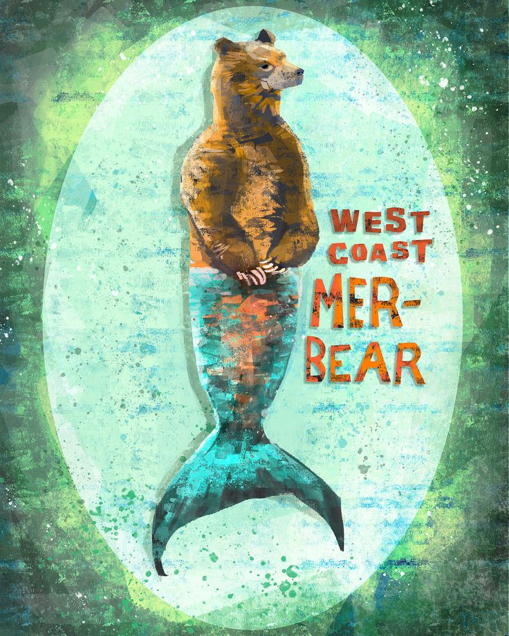 Found only in west coast waters, the Grizzly Mer-Bear is the natural predator of salmon. This whimsical painting is great for a fun accent in any room, including the living room or even a kids bedroom. WHAT YOULL RECEIVE: --------->An archival quality giclee print! (choose size from menu) --------->Printed on 264 gsm paper with pigment-based inks --------->Created and shipped from the USA --------->Image printed to the edge of paper, no border  For more sizes & products with t...