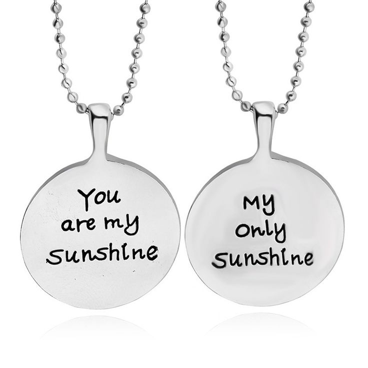Ты Мое Солнце мое единственное саншайн Гравировкой Письмо Ожерелье посеребренные Любителей цепи ожерелье Очарование