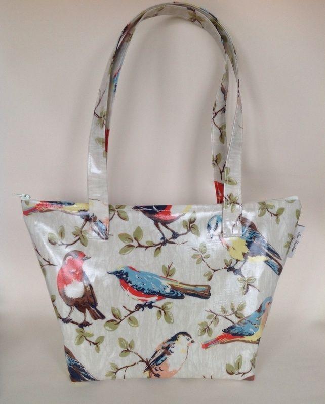 Handmade Cath Kidston garden birds oilcloth tote shopping bag hand bag £16.99
