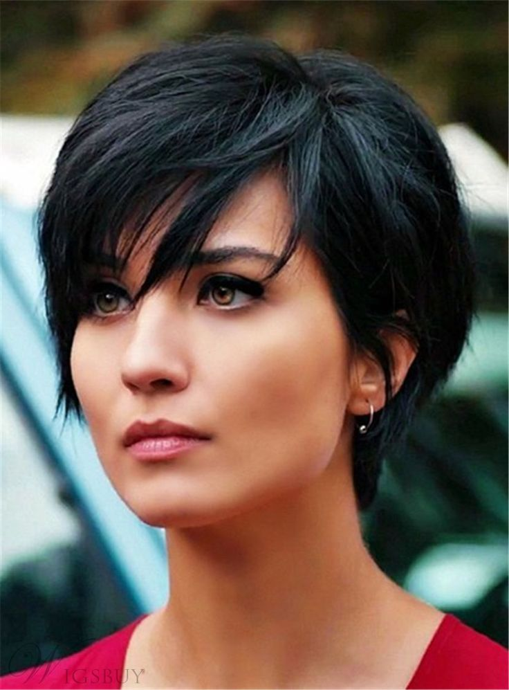 Layered Natural Black Pixie Short Messy Synthetic Hair With Straight Bangs Capless Wigs 6 Inches