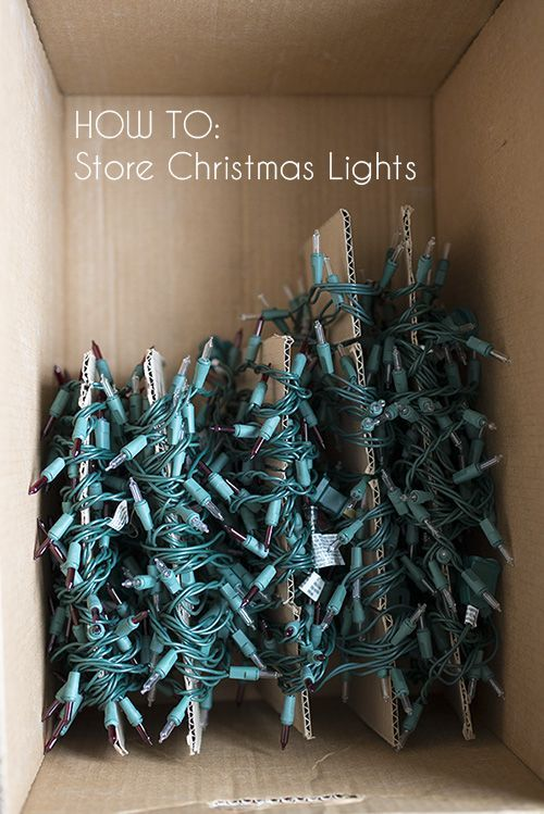 "How to store christmas lights: When you wrap your lights around pieces of disposable cardboard before putting them in storage, you can write handy reminders (""only half this strand works"" ""use this set for the porch"") that'll keep you organized next year."