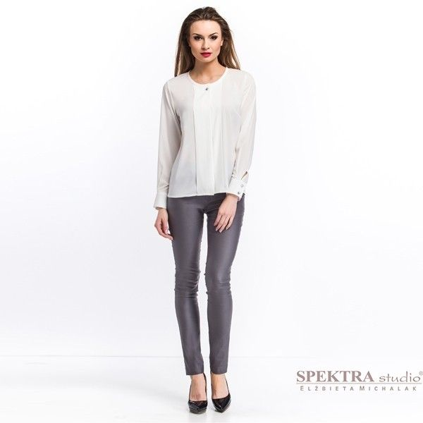 SPEKTRA moda damska trendy wiosna lato 2015 lookbook Wizytowa bluzka z krepy, ecru