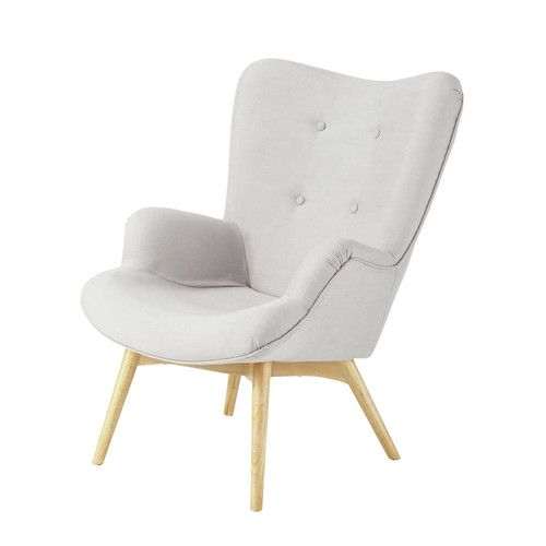 Fabric vintage armchair in light grey