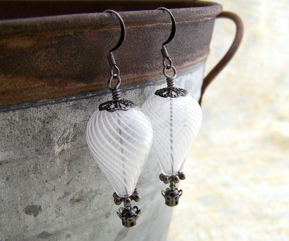 White Hot Air Balloon Earrings - Steampunk balloon earrings in blown glass and gunmetal  - Wedding Jewelry. $24.00, via Etsy.
