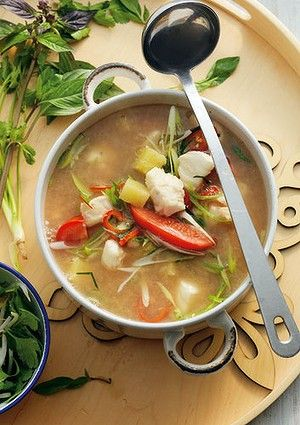 Cambodian-style fish, tomato and pineapple soup