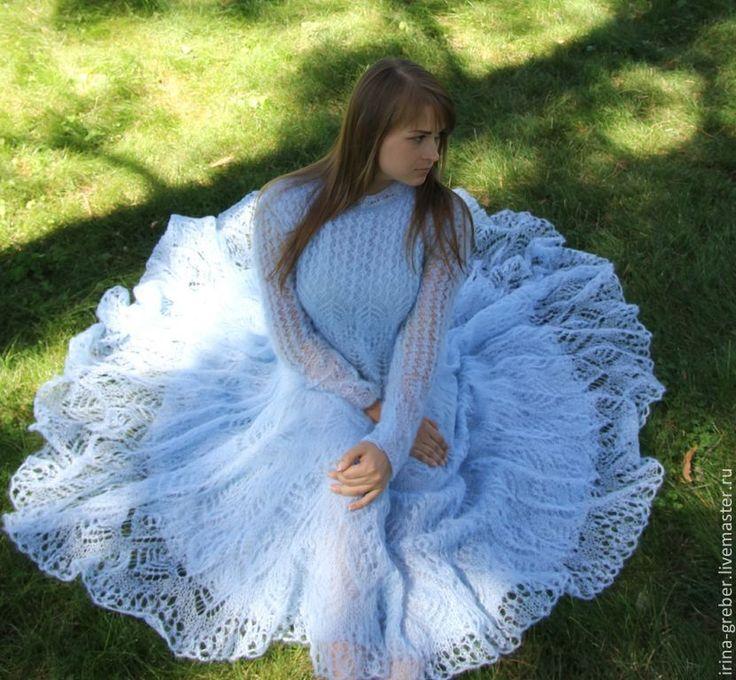 """Купить Платье вязаное """"Небесная лазурь"""" - голубой, платье, вязаное платье, платье спицами"""