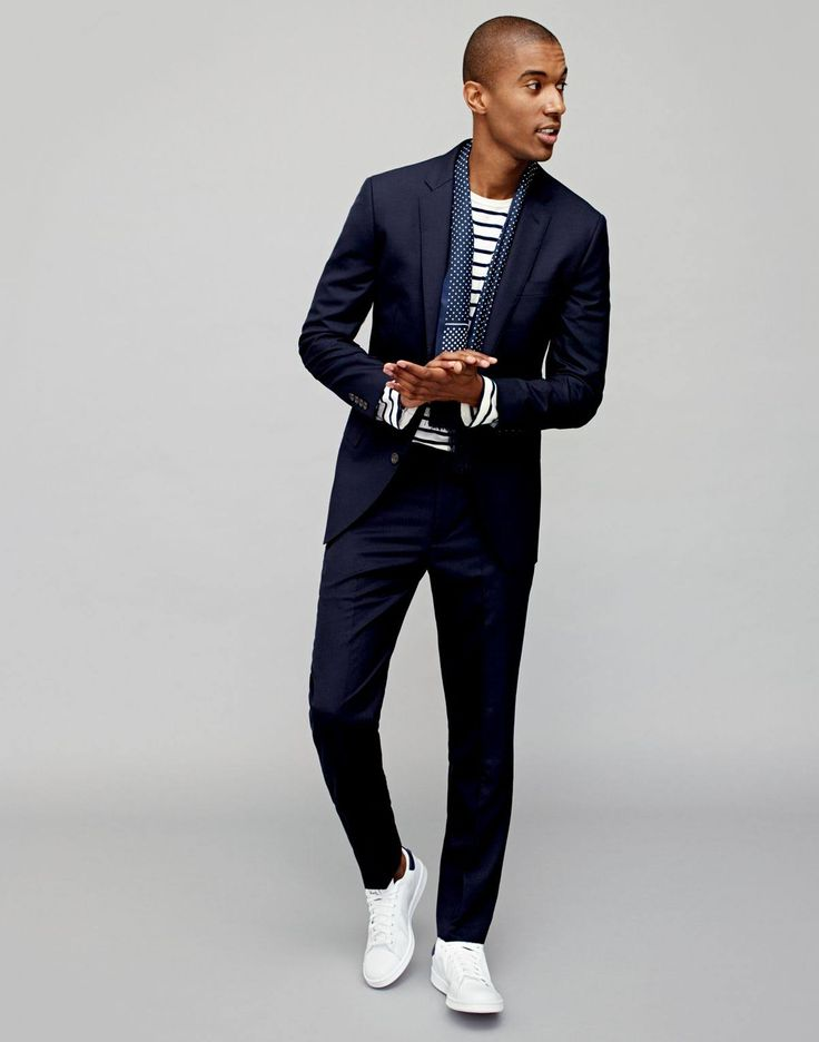 Evening Out Style: J.Crew embraces the white sneakers and suit look with the addition of a scarf and striped tee.