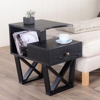 Furniture Of America Sky Black Contemporary Side Accent Table By Furniture  Of America