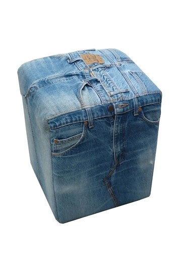 footstool created from old jeans.. adorable for boy's bedroom