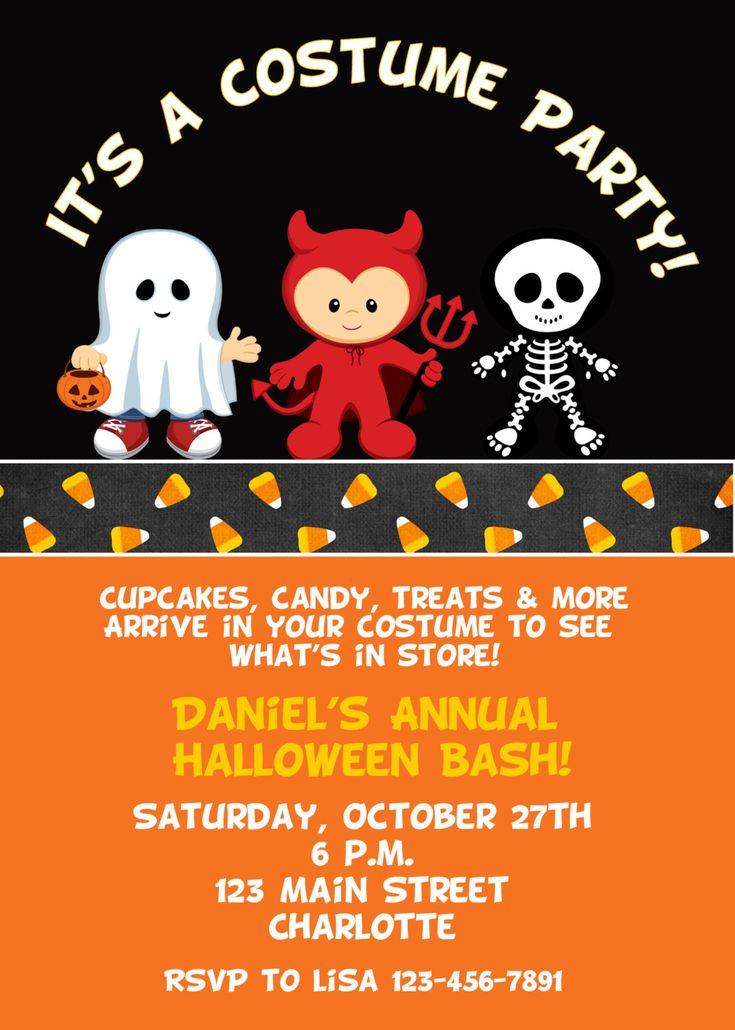 Halloween costume party invitation --   Halloween costume birthday party invitation -- You print or I print. $10.00, via Etsy.