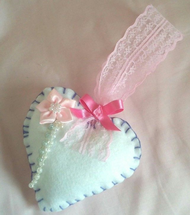 White Heart With Pearls Ribbons, Handmade Felt Heart, Decorative,  Shabby Chic £4.95