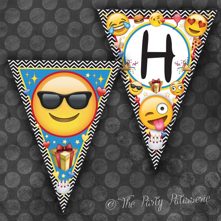 Emoji Happy Birthday Banner Triangles / Instant Download / Digital File by ThePartyPatisserie on Etsy https://www.etsy.com/ca/listing/399484999/emoji-happy-birthday-banner-triangles