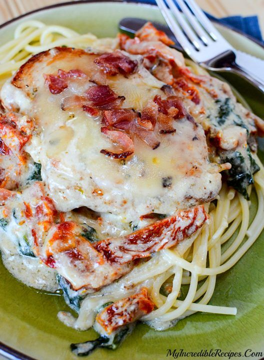 Bacon & Cheese Smothered Garlic Chicken!