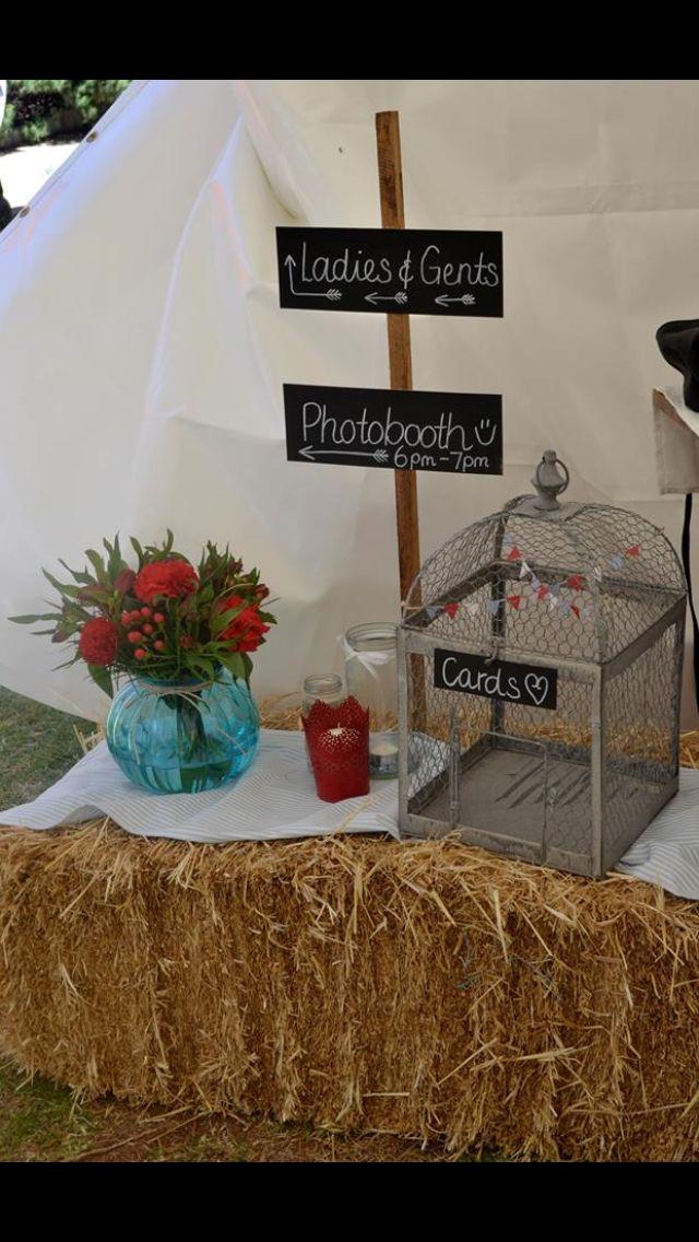 #haybales #wedding #rusticwedding #cardsbox #blueglass #chalkboards