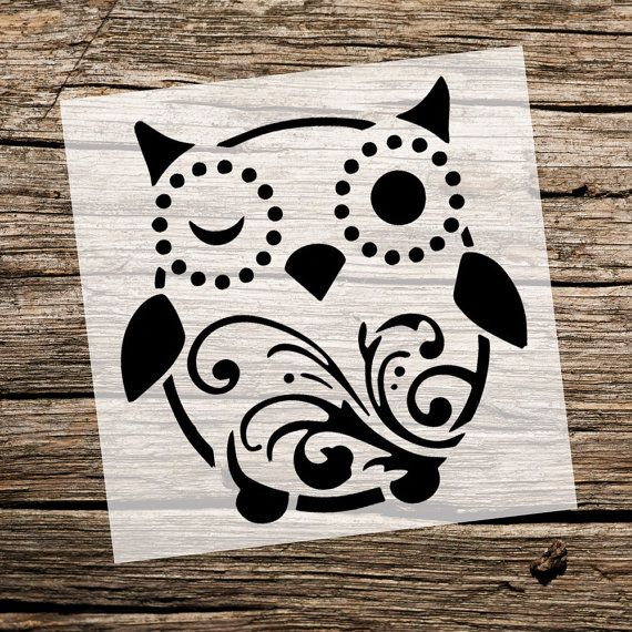 Cute Owl   Owl Stencil   Custom Stencil   Custom Stencils   Multiple Sizes   Reusable Stencils   Ready to use   Get Ready to Paint!  