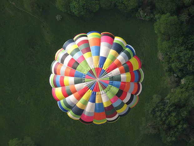 Euge Wheelwright of Turnditch, Derbyshire, for this aerial shot of a hot air balloon over Derbyshire.