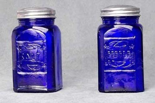 Salt Pepper Shaker Set Cobalt Blue Depression Style Glass