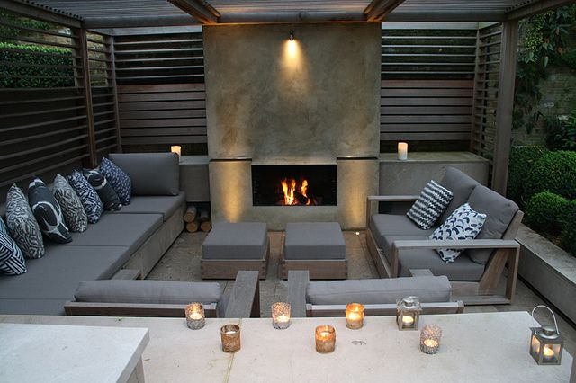 Formal Structural Garden | Enclosed private fireplace garden within timber arbour | Charlotte Rowe Garden Design