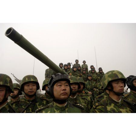 Chinese tanker soldiers with the Peoples Liberation Army Canvas Art - Stocktrek Images (35 x 23)