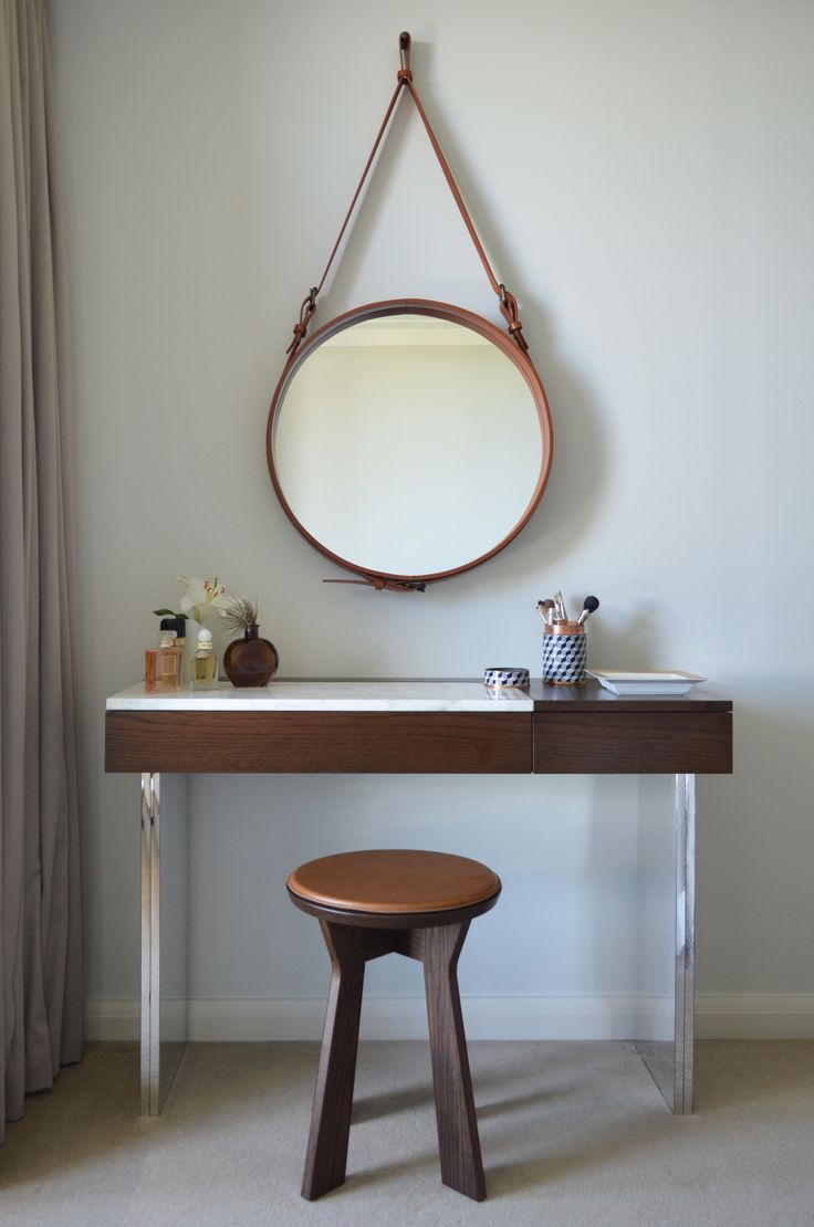 Circular Quay Harbour Apartment - Swan Studio Interior Design | apartment master bedroom custom joinery mirrored dressing table pierre and charlotte stool round mirror