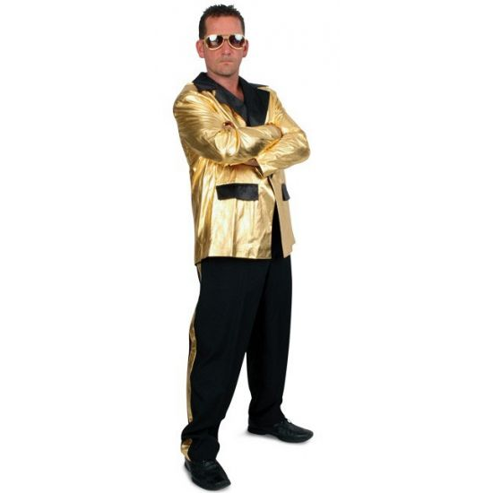 Grote maten 2 delige smoking voor heren zwart/goud  Grote maten kostuum 2 delig voor heren zwart/goud. Dit kostuum voor heren bestaat uit een gouden jasje en een zwarte broek met gouden streep.  EUR 55.95  Meer informatie
