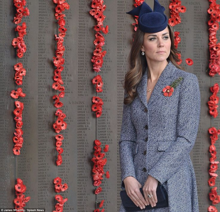 Tribute: The Duchess laid a wreath of poppies after the Anzac march at the Australian War Memorial, Canberra