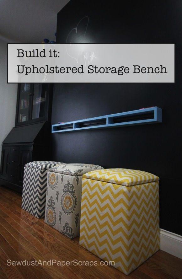 Easy DIY Upholstered Storage Bench: Storage Ottoman, Diy Upholstered, Print Fabrics, Upholstered Storage, Bed 2 3, Paper Scraps, Easy Diy, Storage Benches