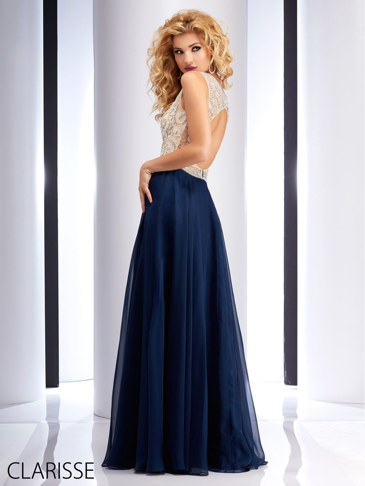 Clarisse 2016 prom dress style 2737. Long flowy elegant simple A-line chiffon prom dress with sparkly silver beading. Available in Navy, blue and red. http://clarisse.us/locator/index.php
