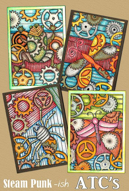 SteamPunk-ish ATCs by Paint Chip, via Flickr