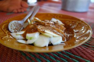 Rujak - Fruit and vegetable salad with sweet sauce - authentic Indonesian recipe from a village on Lombok island, Indonesia (source: my personnal food and travel blog / vlog with recipes, authentic video recipes, street food, food and travel documentary, travel info and more. Welcome! :) )