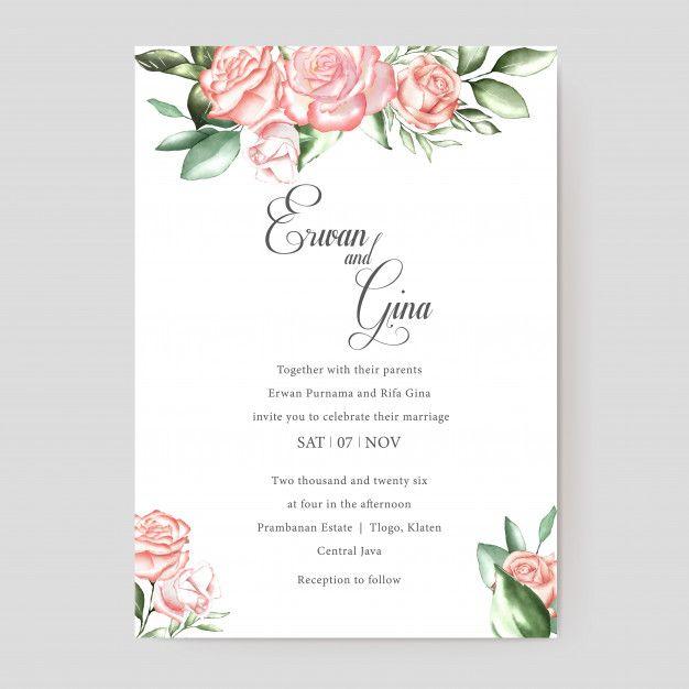Watercolor Wedding Invitation Template Card Design Wedding Invitation Templates Watercolor Wedding Invitations Wedding Invitations