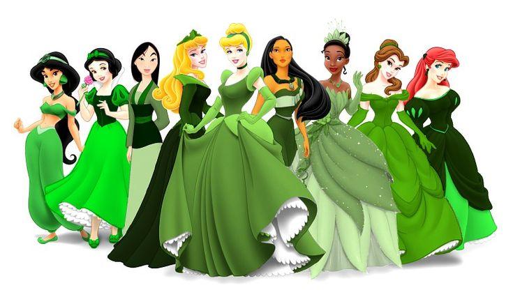 Disney Princesses went Green by almister12.deviantart.comRainbows Princesses, Disney Princesses, Dresses, Disney Jasmine, Princesses Photos, St Patricks Day, Fans Art, Disneyprincess, Princesses Disney