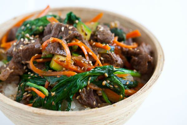 Korean Beef Rice Bowl. Quick. Fresh. Easy. (and gotta love Jaden's sense of humor) steamykitchen.com