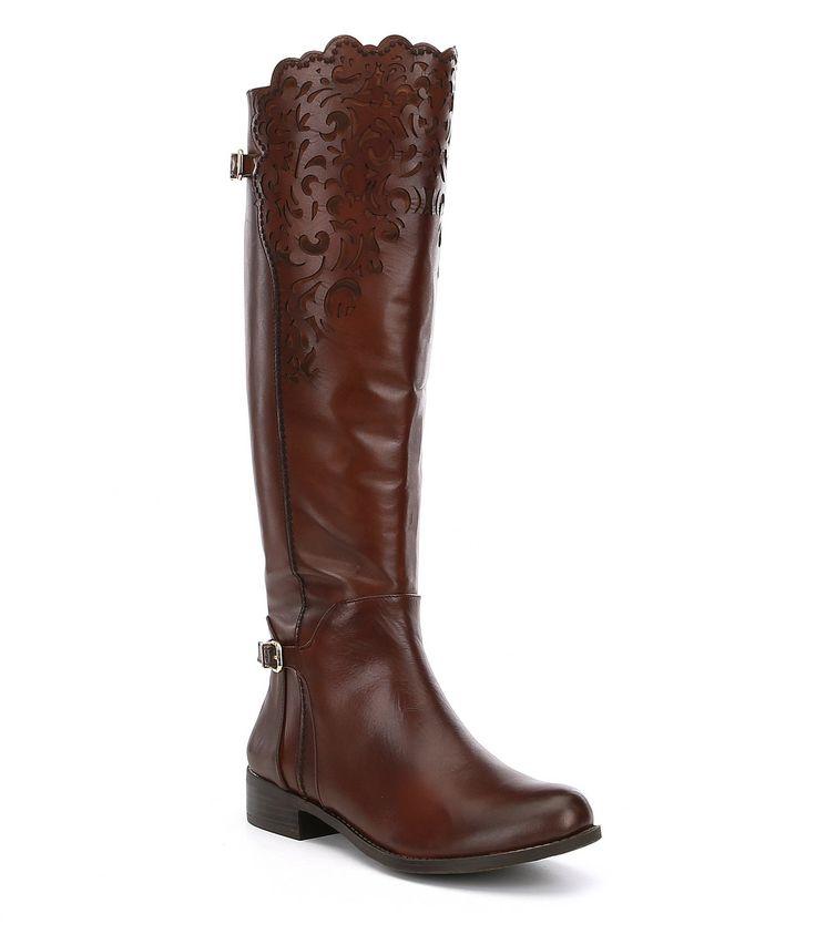 Gianni Bini Shayne Slim Calf Lasercut Riding Boots #Dillards