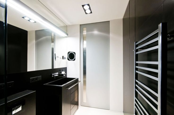 Apartment, Modern Black Bathroom Design In White Water Apartment With Modern Backlit Mirror And Single Sink Vanity: Stylish and Unique Apart...