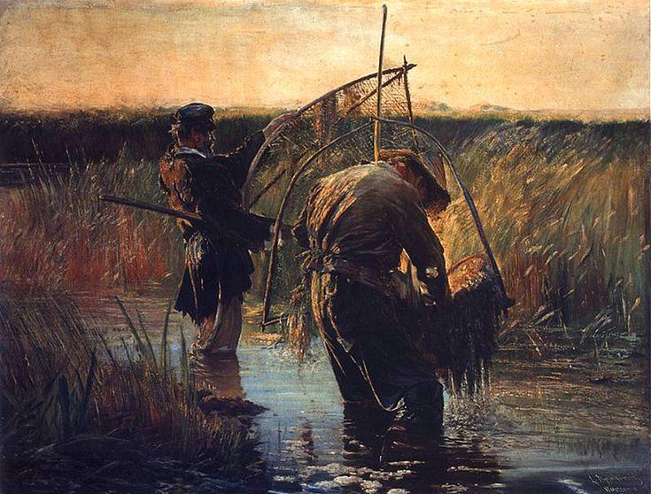 Leon Wyczółkowski (Polish 1852–1936, Warsaw) [Polish Realism, Młoda Polska] Rybacy brodzący. 1891. Olej na płótnie. 131 x 146 cm. Muzeum Narodowe, Warszawa.