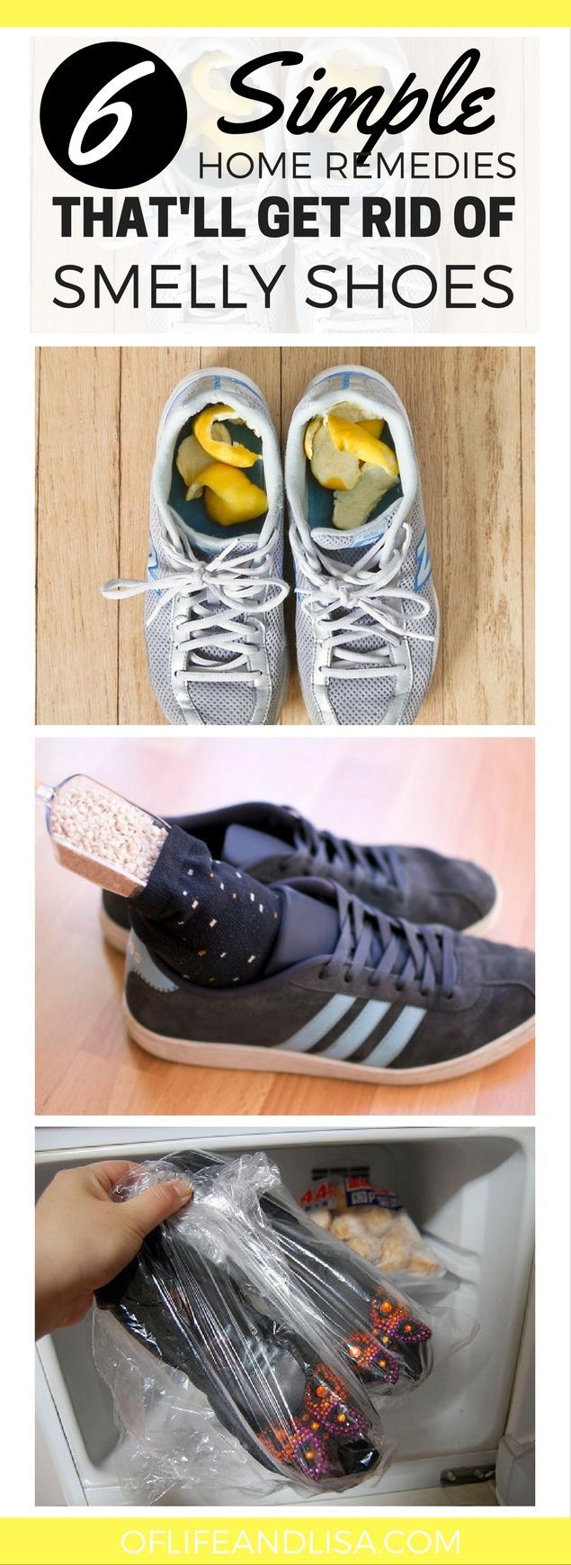 How to get rid of stinky shoes and make them smell like new again. #home #cleaning #shoes #hacks