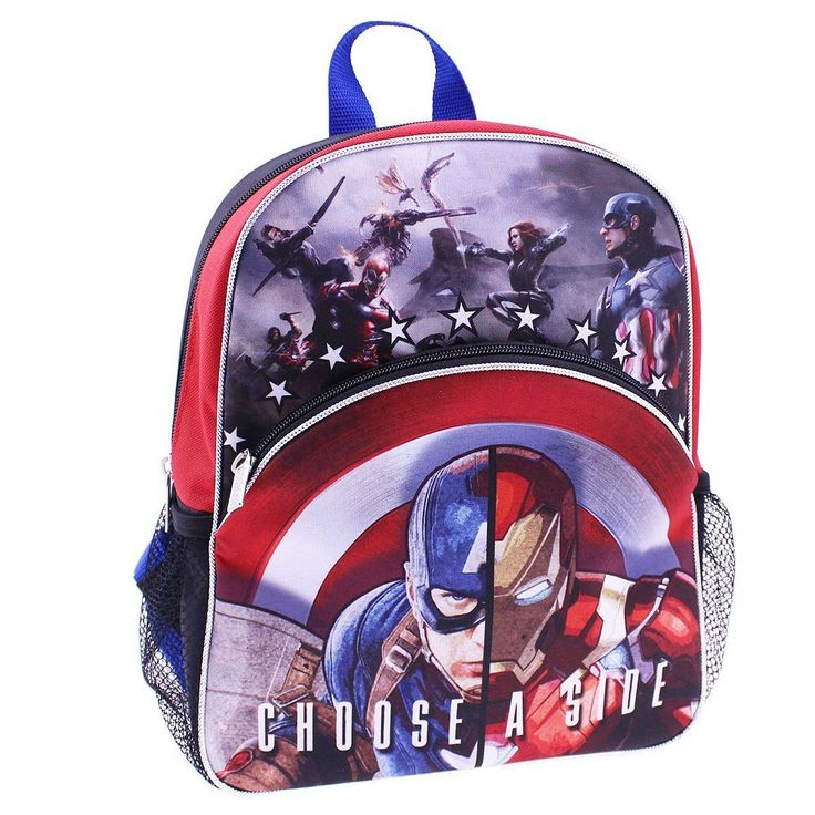 "Kids Marvel Captain America: Civil War Iron Man ""Choose A Side"" Backpack, Black"