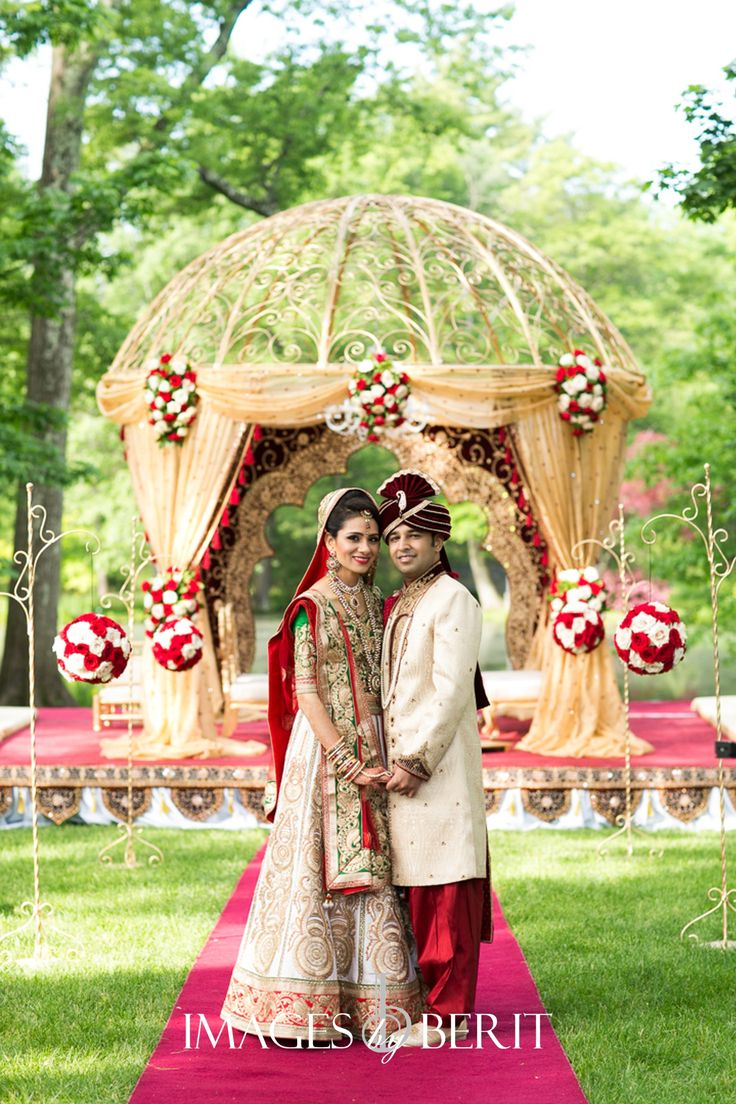 Indian Wedding at Pleasantdale Chateau | Photography by Berit Bizjak of Images by Berit | NJ Wedding Photography | Bride and Groom | Wedding Mandap | Red and gold | Florals by @ElegantAffairs1 | Event planing and design by @StudioSheen