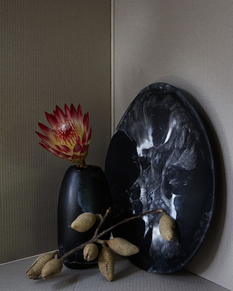 Dinosaur Designs Black Marble Collection - Modern Tribal Platter and Pebble Vase